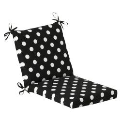 Pillow Perfect Outdoor Black/ White Polka Dot Square Chair Cushion