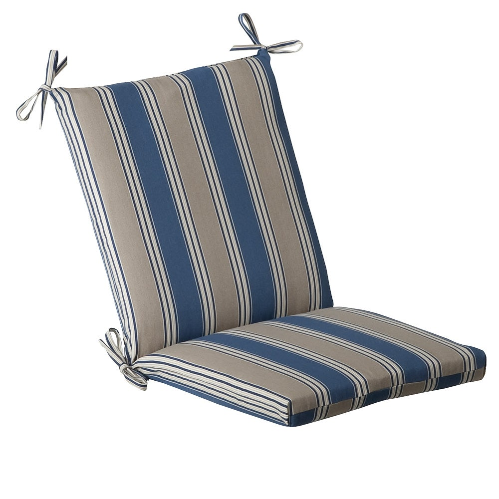Pillow Perfect Outdoor Blue/ Tan Striped Square Chair Cushion