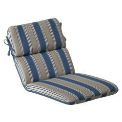 Pillow Perfect Outdoor Blue/ Tan Striped Rounded Chair Cushion