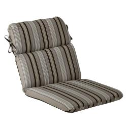 Pillow Perfect Outdoor Black/ Beige Striped Round Chair Cushion