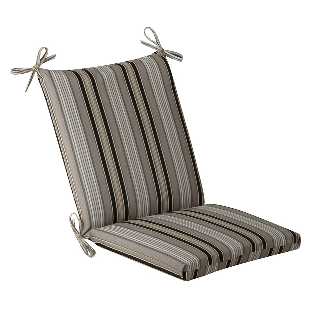 Pillow Perfect Outdoor Black Beige Striped Square Chair
