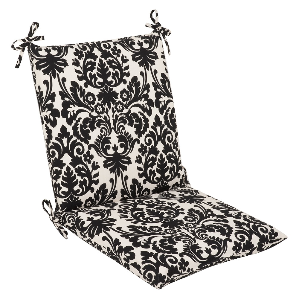 Pillow Perfect Outdoor Black/ Beige Damask Square Chair Cushion