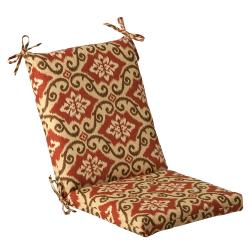 Pillow Perfect Outdoor Red/ Tan Damask Square Chair Cushion
