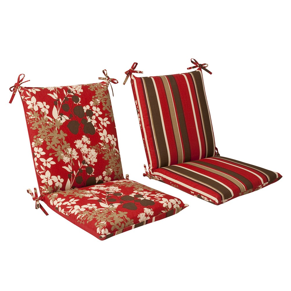 Pillow Perfect Outdoor Red Brown Reversible Square Chair