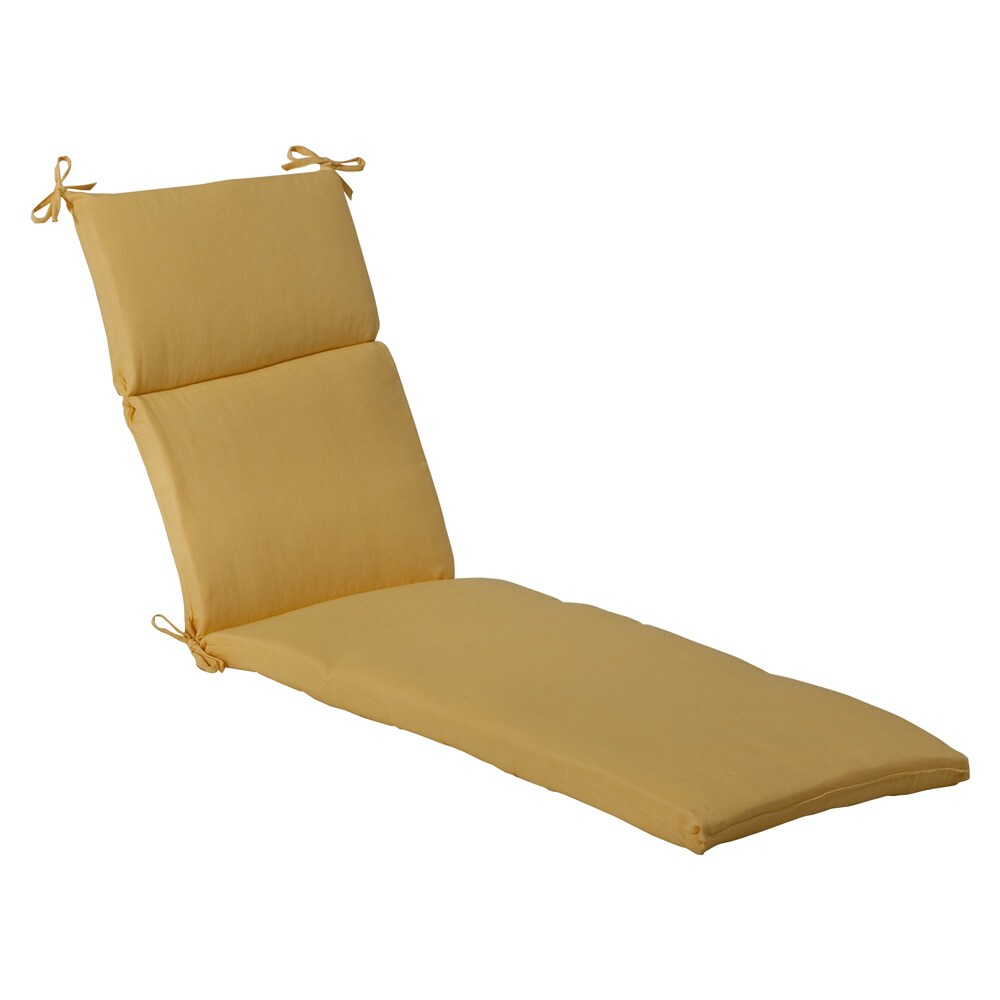 Pillow Perfect Outdoor Yellow Solid Chaise Lounge Cushion
