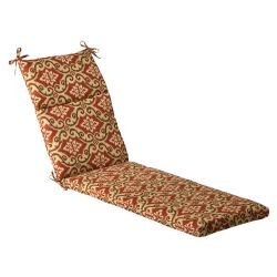 Pillow perfect outdoor black beige damask chaise lounge for Black chaise lounge cushions