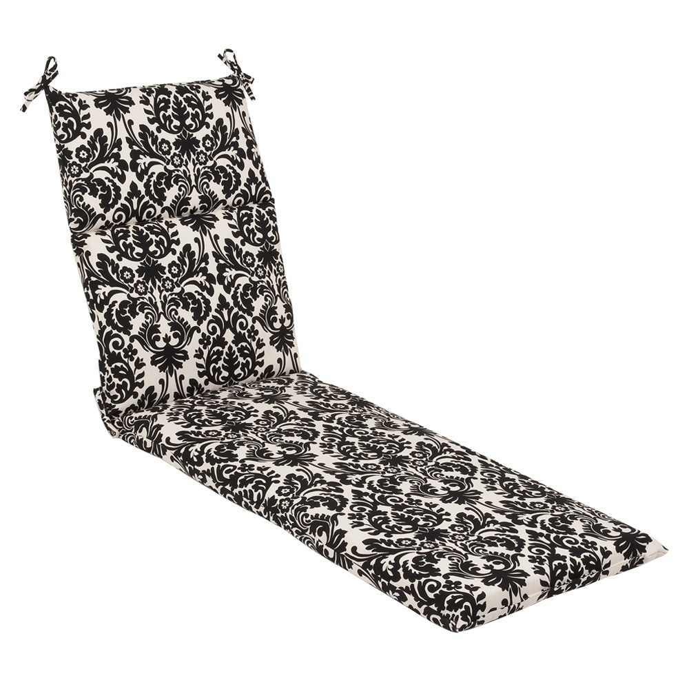 Pillow perfect outdoor black beige damask chaise lounge for Black and white damask chaise lounge