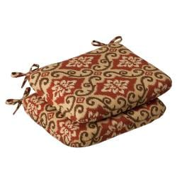 Pillow Perfect Outdoor Red/ Tan Damask Round Seat Cushion (Set of 2)