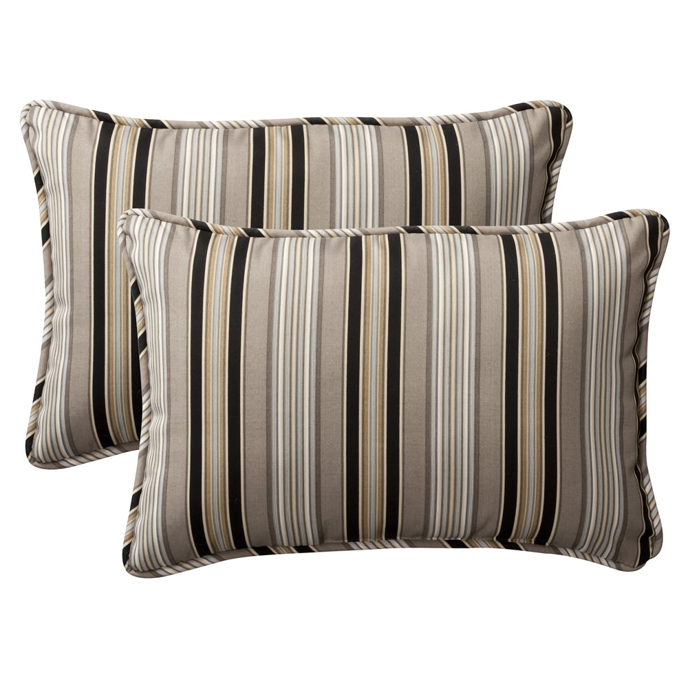 Pillow Perfect Decorative Black Beige Striped Outdoor