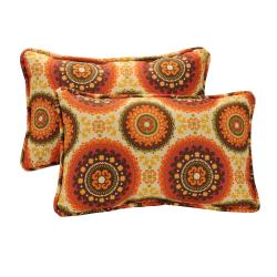 Pillow Perfect Decorative Brown/ Orange Circles Outdoor Toss Pillows (Set of 2)