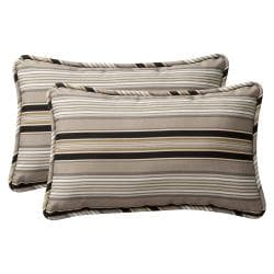 Pillow Perfect Outdoor Black/Beige Striped Polyester Toss Pillows (Set of Two)