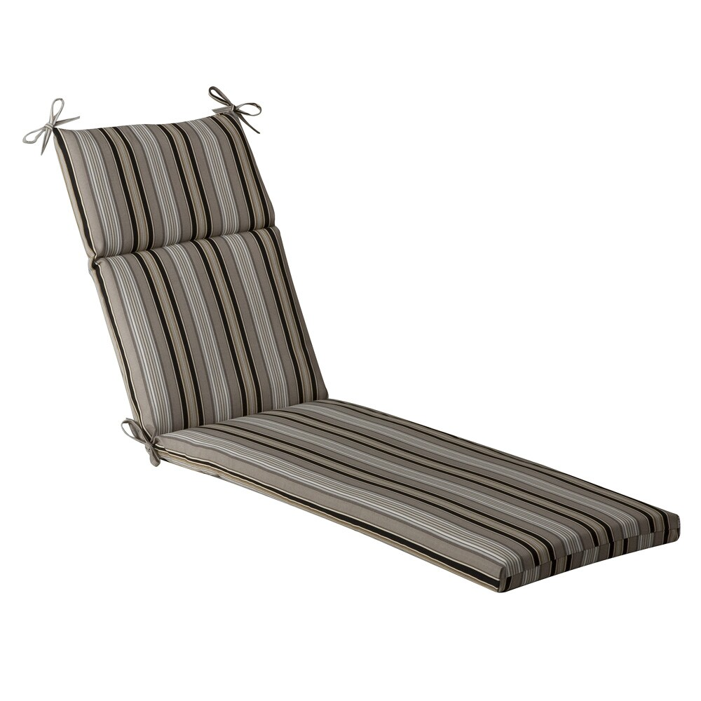Pillow perfect outdoor black beige striped chaise lounge for Black chaise lounge cushions
