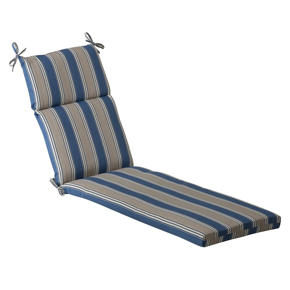 Pillow perfect outdoor blue tan striped chaise lounge for Blue chaise lounge cushions