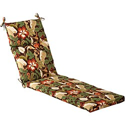 Pillow Perfect Outdoor Brown/ Green Tropical Chaise Lounge Cushion