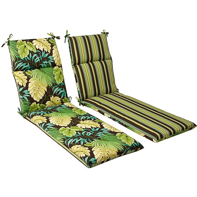 Pillow Perfect Outdoor Green/ Brown Tropical/ Striped Reversible Chaise Lounge Cushion at Sears.com