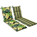 Pillow Perfect Outdoor Green/ Brown Tropical/ Striped Reversible Chaise Lounge Cushion