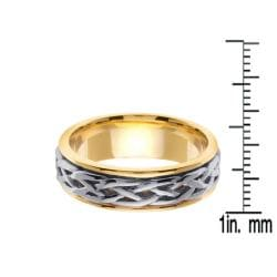 14k Two-tone Gold Men's Celtic Woven Design Wedding Band