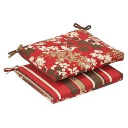 Pillow Perfect Outdoor Red/ Brown Reversible Seat Cushions (Set of 2)