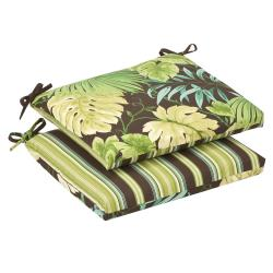 Pillow Perfect Outdoor Green/ Brown Reversible Seat Cushions (Set of 2)