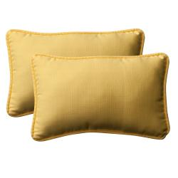 Pillow Perfect Outdoor Yellow Rectangle Toss Pillows (Set of 2)