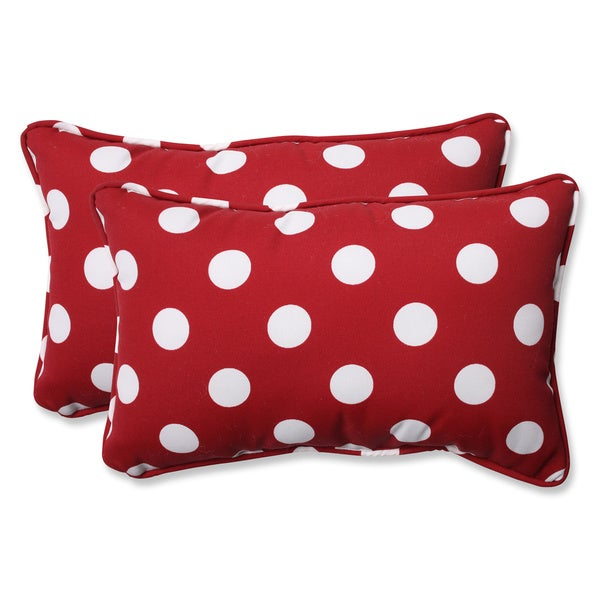 Pillow Perfect Weather-Resistant Decorative Red/White Polka Dot Outdoor Toss Pillows (Set of 2) 8515486