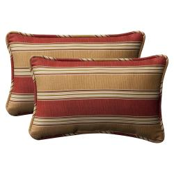 Pillow Perfect Decorative Red/Gold Striped Polyester Outdoor Toss Pillows (Set of 2)
