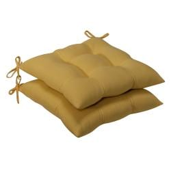 Pillow Perfect Outdoor Yellow Tufted Seat Cushions (Set of 2)
