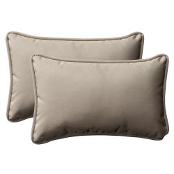 Pillow Perfect Outdoor Beige Rectangle Toss Pillows (Set of 2)