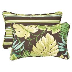 Pillow Perfect Outdoor Green/ Brown Rectangle Toss Pillows (Set of 2)