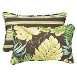 Pillow Perfect Outdoor Green/ Brown Rectangle Toss Pillows (Set of 2)