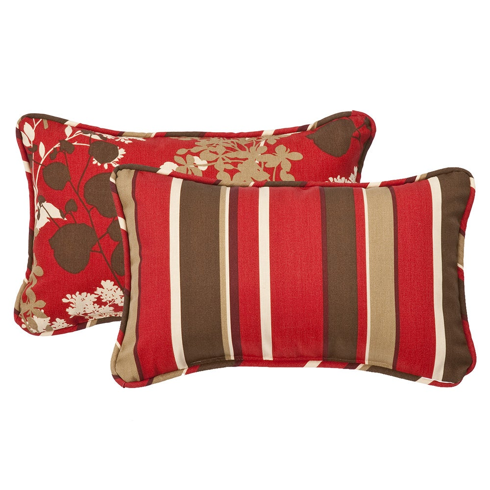 pillow perfect decorative reversible red brown floral striped outdoor toss pillows set of 2. Black Bedroom Furniture Sets. Home Design Ideas