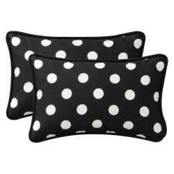 Pillow Perfect Decorative Black/White Polka Dot Polyester Outdoor Toss Pillows (Set of 2)