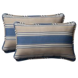 Pillow Perfect Decorative Blue/Tan Striped Weather-Resistant Outdoor Toss Pillows (Set of Two)