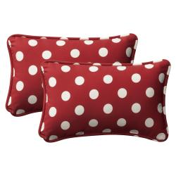 Pillow Perfect Decorative Red/ White Polka Dot Outdoor Toss Pillows (Set of 2)