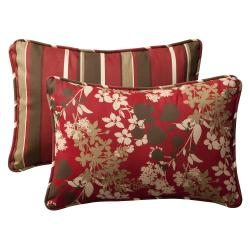 Pillow Perfect Outdoor Red/ Brown Floral Stripe Toss Pillows (Set of 2)