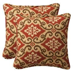Pillow Perfect Outdoor Red/ Tan Damask Toss Pillows (Set of 2)