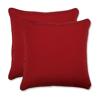 Pillow Perfect Outdoor Red Solid Toss Pillows Square - Set of 2