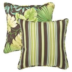 Pillow Perfect Outdoor Green/ Brown Tropical/ Stripe Toss Pillows (Set of 2)