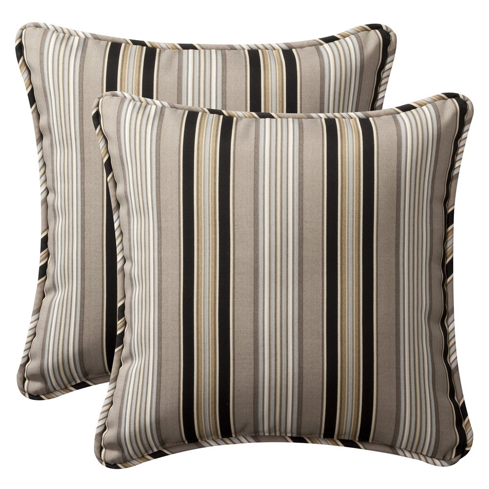Pillow Perfect Outdoor Black/ Beige Stripe Toss Pillows (Set of 2) - 13937530 - Overstock.com ...
