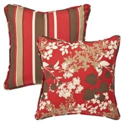 Pillow Perfect Outdoor Red /Brown Floral/ Stripe Toss Pillows (Set of 2)