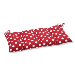 Pillow Perfect Outdoor Red/ White Polka Dot Tufted Loveseat Cushion