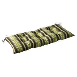 Pillow Perfect Outdoor Brown/ Green Stripe Tufted Loveseat Cushion