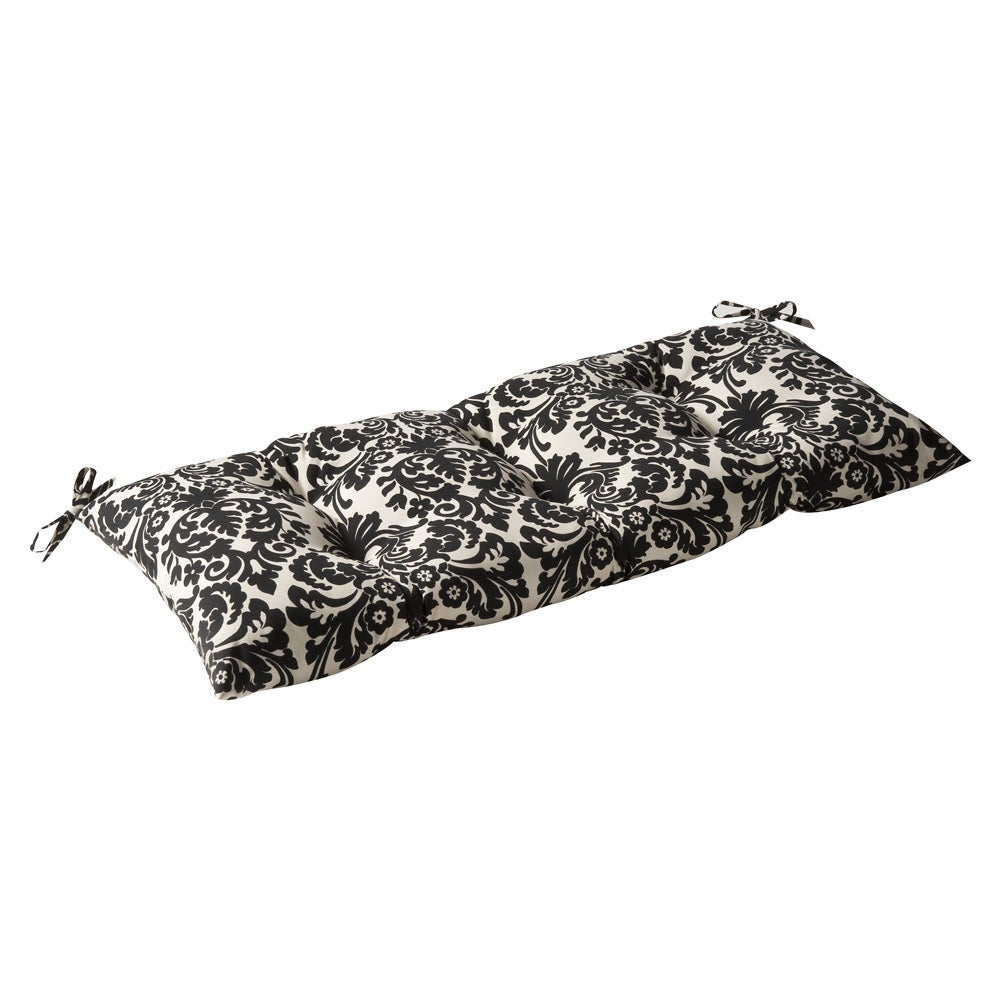 Pillow Perfect Outdoor Black/ Beige Damask Tufted Loveseat Cushion