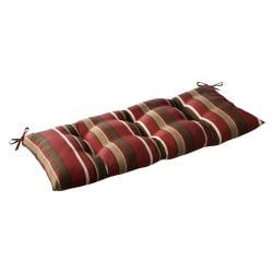 Pillow Perfect Outdoor Red/ Brown Stripe Tufted Loveseat Cushion
