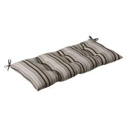 Pillow Perfect Outdoor Black/ Beige Stripe Tufted Loveseat Cushion