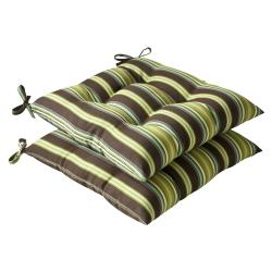 Pillow Perfect Outdoor Brown/ Green Stripe Tufted Seat Cushions (Set of 2)