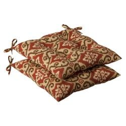 Pillow Perfect Outdoor Red/ Tan Damask Tufted Seat Cushions (Set of 2)