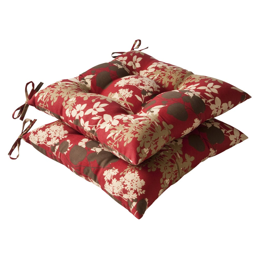 Pillow Perfect Outdoor Red/ Brown Floral Tufted Seat Cushions (Set of 2)
