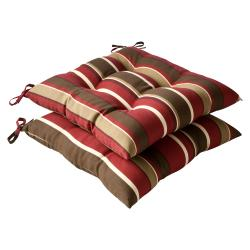 Pillow Perfect Outdoor Red/ Brown Stripe Tufted Seat Cushions (Set of 2)