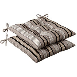 Pillow Perfect Outdoor Black/ Beige Stripe Tufted Seat Cushions (Set of 2)